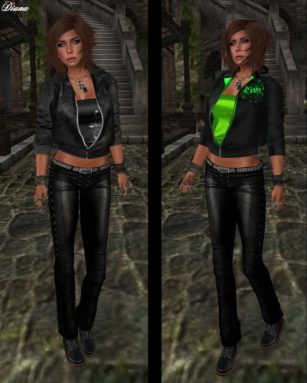 Torn - Diva Jacket black and green