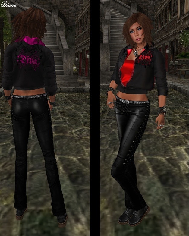 Torn - Diva Jacket pink and red