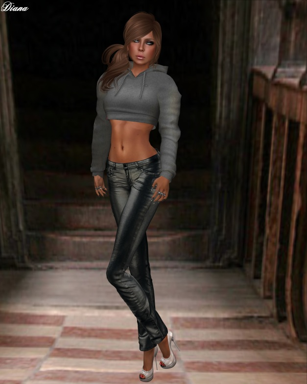 Ducknipple - Mesh Cropped Hoodie w HUD and Redgrave - Jeans LQM metallic black
