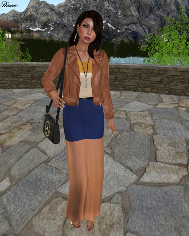 Emery - Mesh Maxi Dress (Marie Nation) and Mesh Leather Jacket Saul (Light Peru)