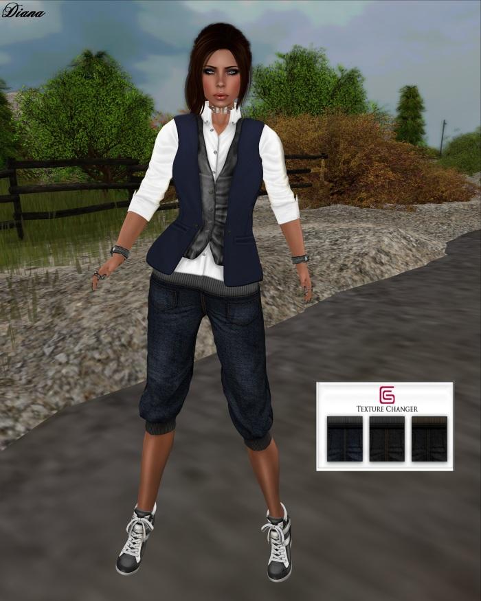 GizzA - Double Shirt and Mandy Pants Mesh Denim Tones