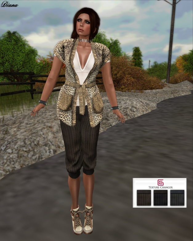 GizzA - Loose Cardigan Leopard Brown and Mandy Pants Mesh Lines Tones
