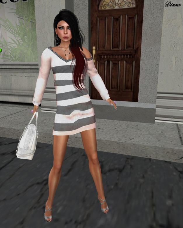 Loordes of London - Saxon Striped Dress-Pink