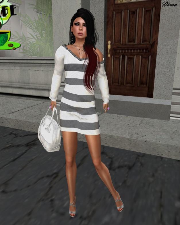 Loordes of London - Saxon Striped Dress-White