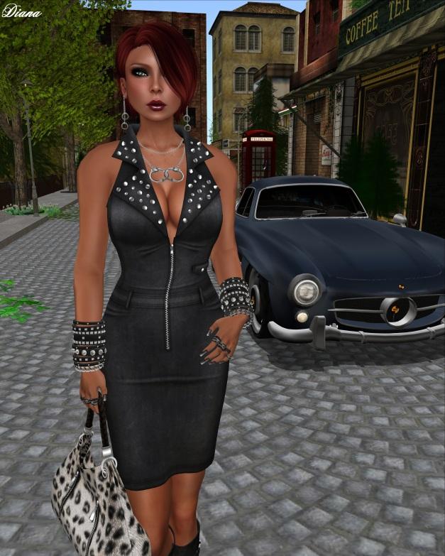 !Rebel Hope - Petra Leather Mesh Dress Black-2