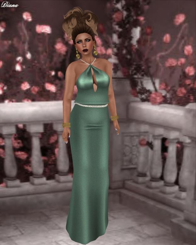 Rebel Hope - Vienna Mesh Gown Grayed Jade