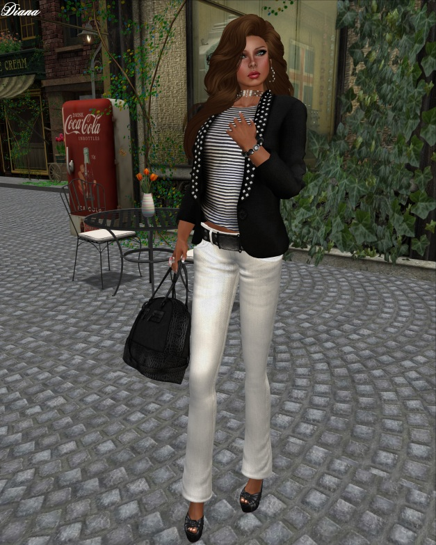 SS - Studded Blazer WTee Striped and Sakide - Flare Jeans White-1