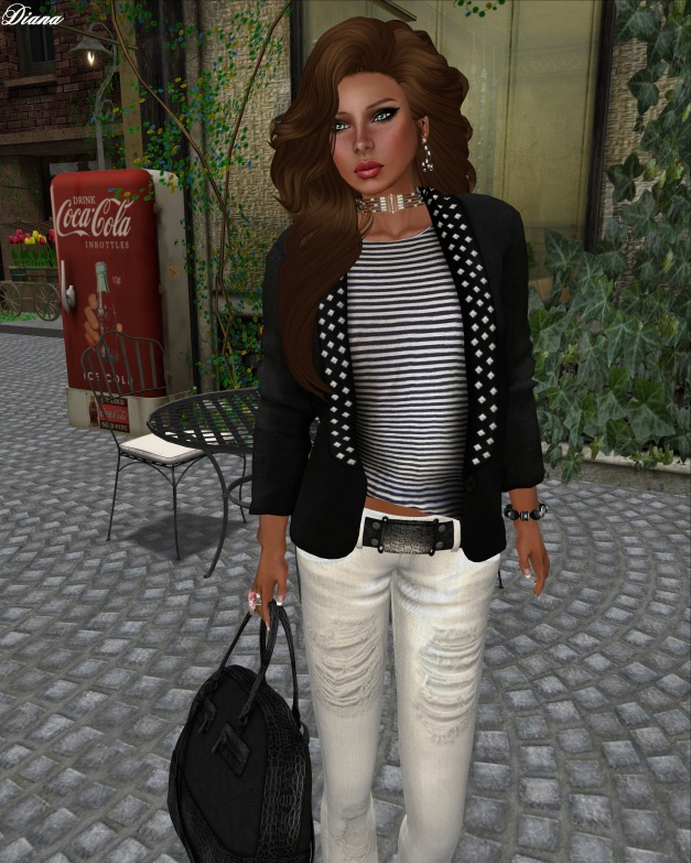 SS - Studded Blazer WTee Striped and Sakide - Flare Jeans White-2