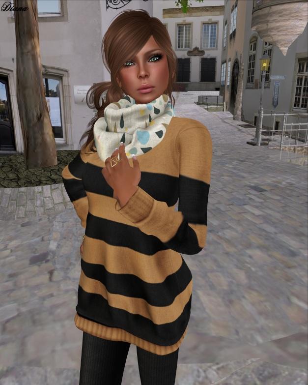 Teefy - Olga Sweatshirt Dress Border Desert,Soft Wool Jersey Leggings Black and CollarSnood Rain and Tears-2