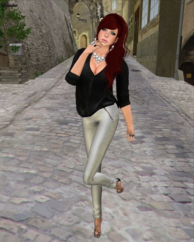 erratic - amy silk blouse black and zoey leather pants white