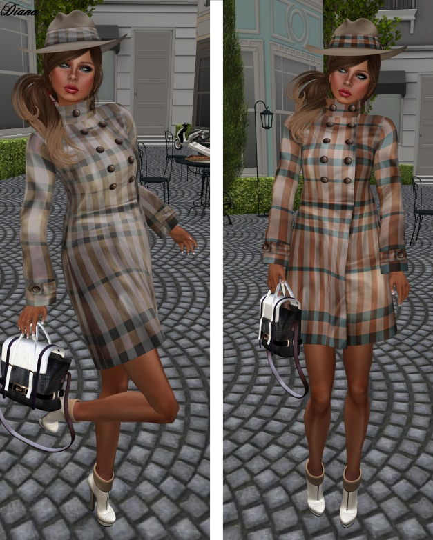 GizzA - Trench Coat Tartan beige and brown