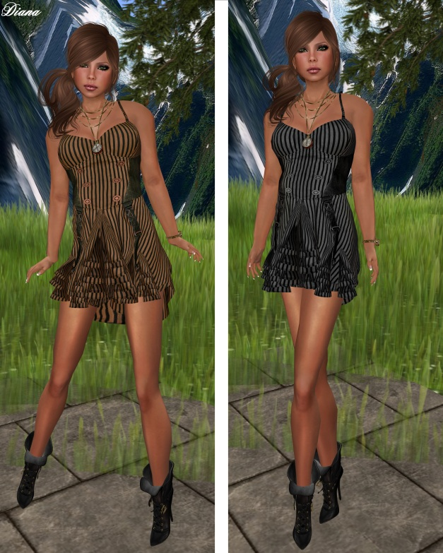 Hudson`s Clothing - Candy Stripes Mesh Dress Caramel and Liquorice