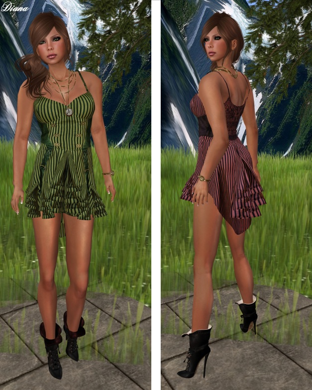Hudson`s Clothing - Candy Stripes Mesh Dress Mint and Peach