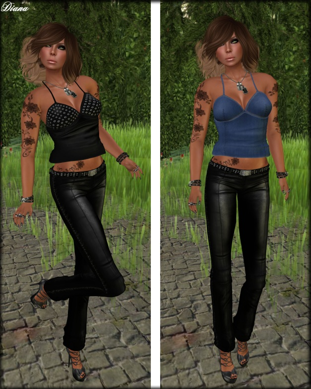 Immerschoen Girl -  Neckholder Top Ana black and jeans