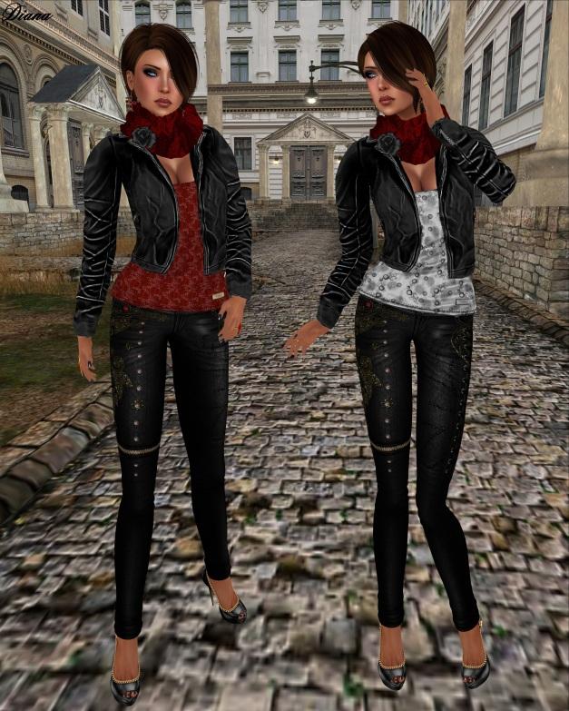 Son!a - Avina Mesh Jacket-shirt Black and Starla Mesh Jeans Black