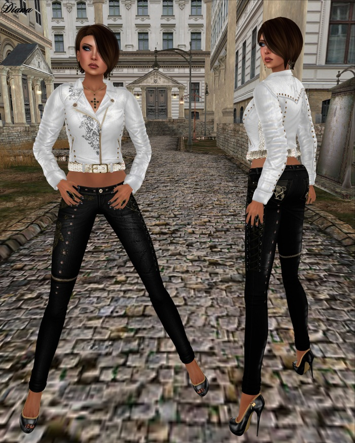 Son!a - Starla Mesh Biker Jacket White and Starla Mesh Jeans Black
