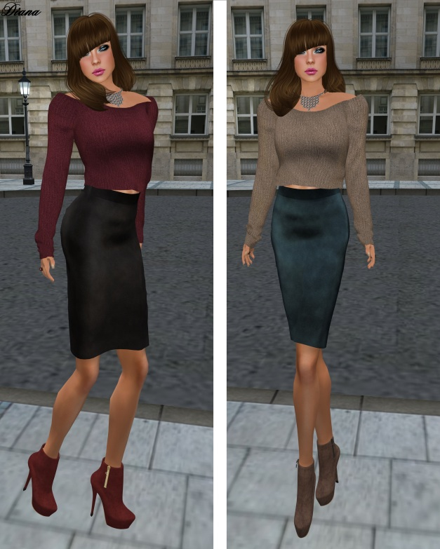 Baby Monkey - Cashmere Sweater and Suede Pencil Skirt