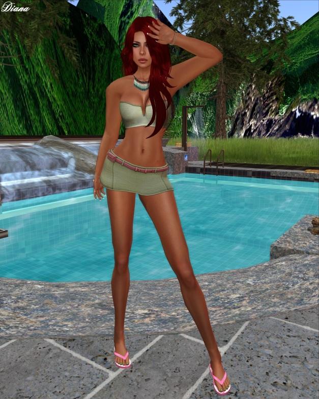 elymode - Loose Change Skirt & Bandeau (sage)-1