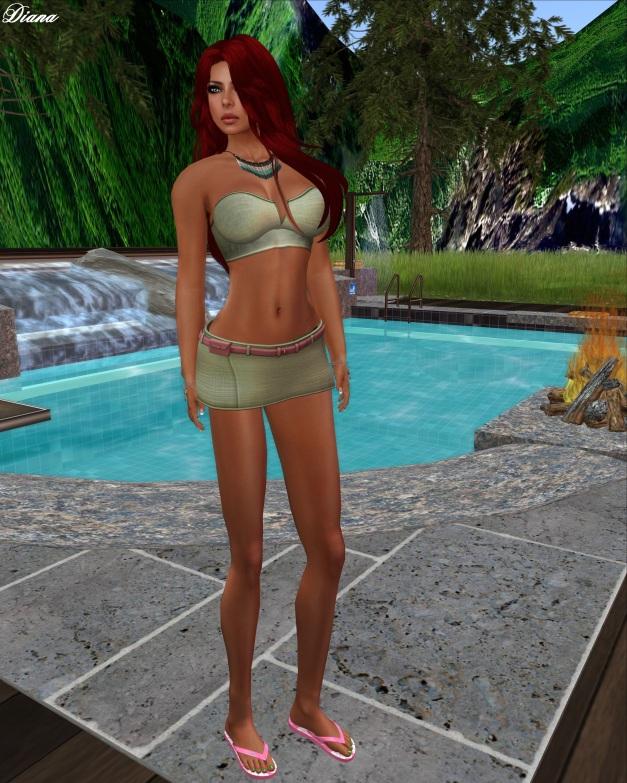 elymode - Loose Change Skirt & Bandeau (sage)-2