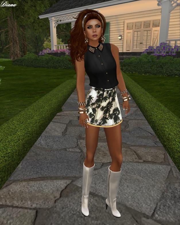 Emery - Mesh Sleeveless Shirt Destiny and Mesh Skirt Palms Irie