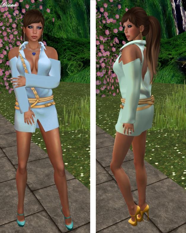 Gabriel - Mesh Bareback Dress ice blue and ice green