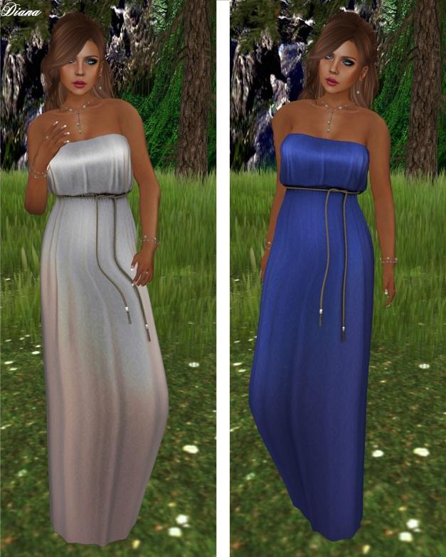 !Rebel Hope - Eva Mesh Maxi Dress Sheen Gray and Blue