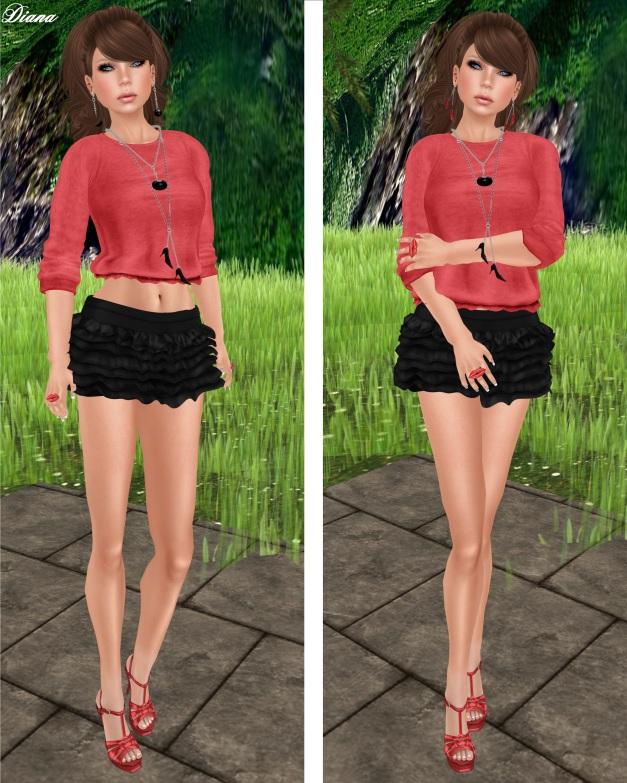 Teefy - Rachel Ruffle Sweater and Lovisa Ruffle Mini Skirt