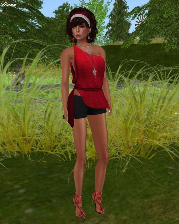 22769 - Anushka Top Red and Cotton Hot Pants Black