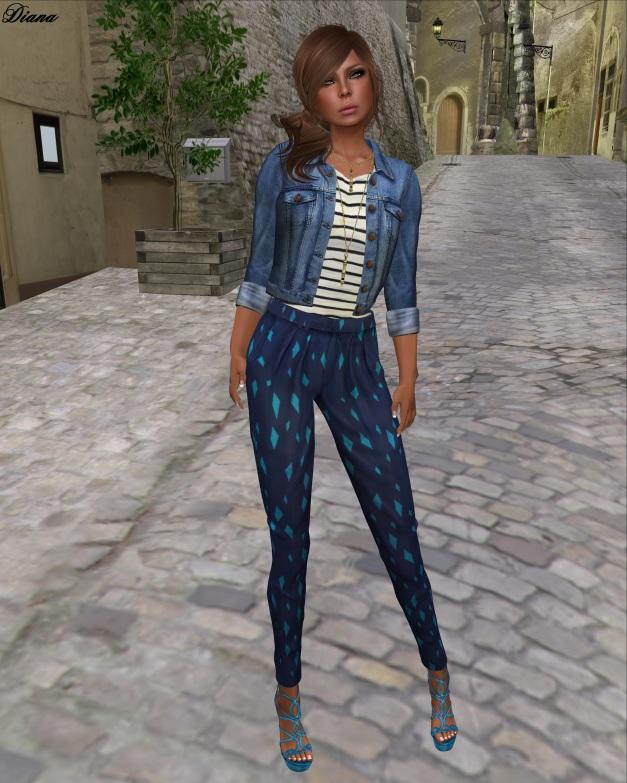 Emery - Mesh Denim Jacket Hollywood and Mesh Printed Pants Sacramento Royal Blue
