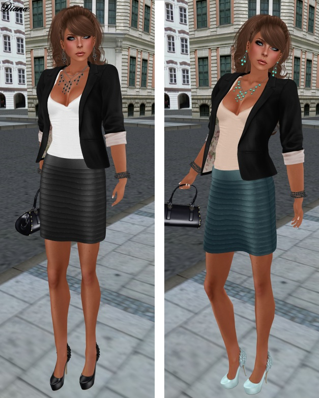 MG - Ribbed Leather Mini black and blue and The Secret Store - Structured Blazer crow