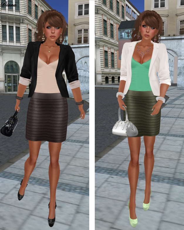 MG - Ribbed Leather Mini chocolate and olive and The Secret Store - Structured Blazer