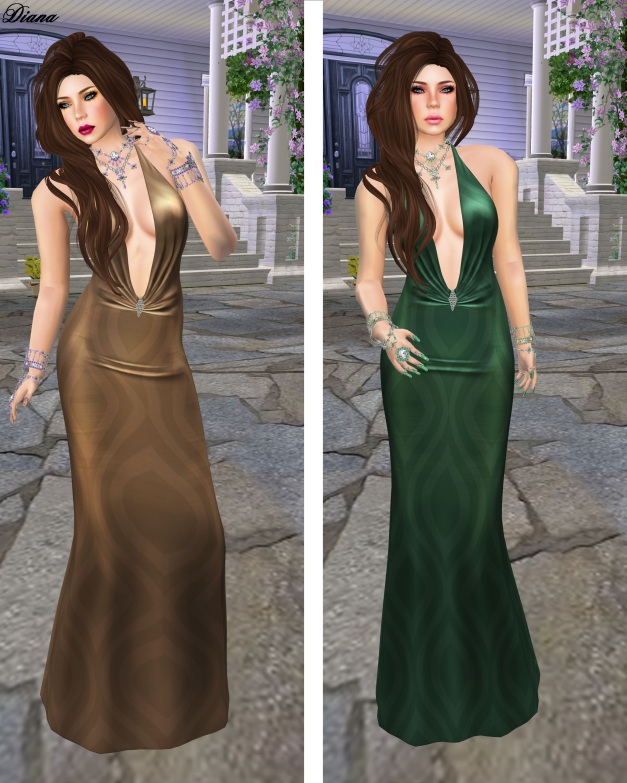 !Rebel Hope - Blythe Mesh Gown earth and green