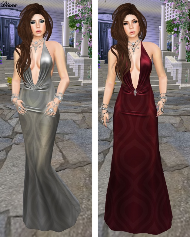 !Rebel Hope - Blythe Mesh Gown silver and red