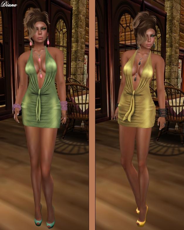 !Rebel Hope - Traci Mesh Mini Dress Fresh Green and Gold