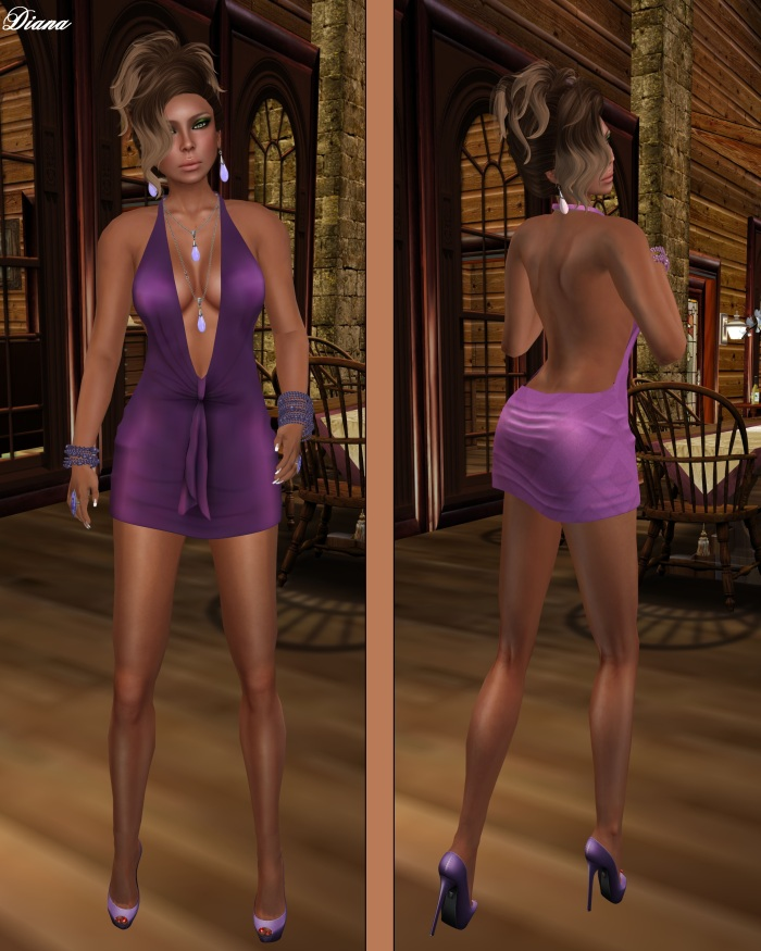 !Rebel Hope - Traci Mesh Mini Dress Hawt Purple and Pink