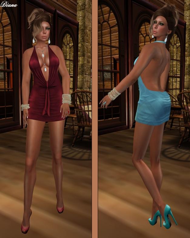 !Rebel Hope - Traci Mesh Mini Dress Ruby and Soft Blue