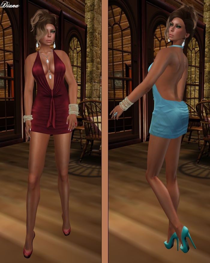 !Rebel Hope - Traci Mesh Mini Dress Ruby and Soft Blue