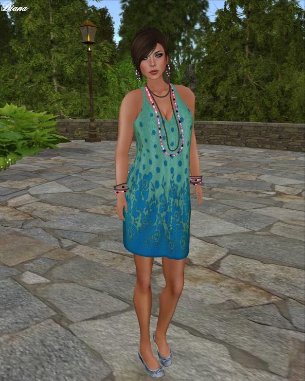 TuttiFrutti - Coralina Mesh Knit Dress Dusk Blue