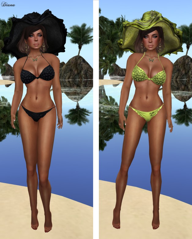 Baiastice - 3D Flowers bikini-black and pistakio