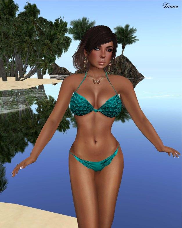 Baiastice - 3D Flowers bikini-turquoise