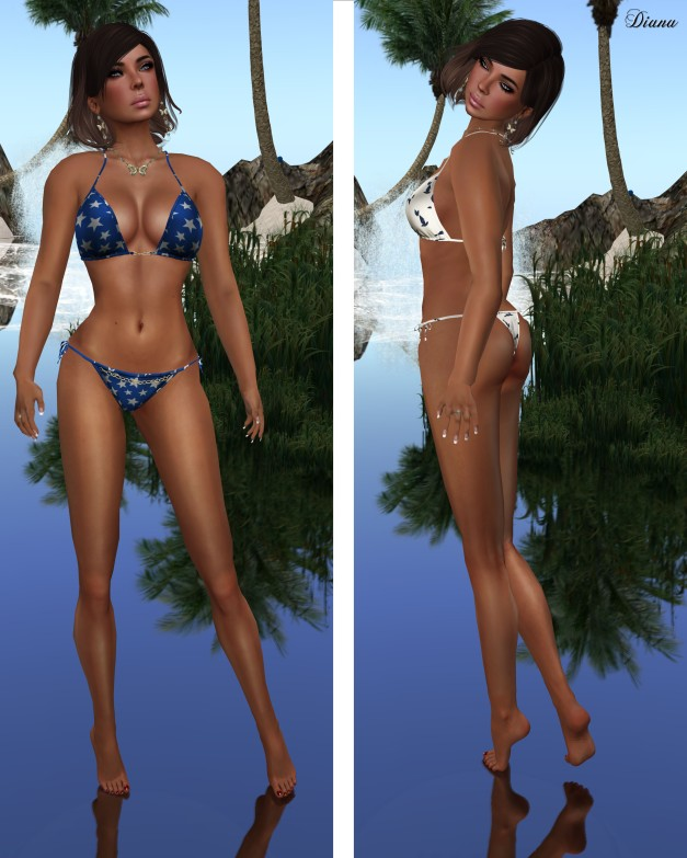 Baiastice - Chain Bikini-stars print and cats print