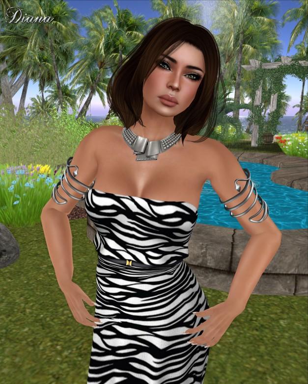 Baiastice - Hina Maxi Dress print waves bw