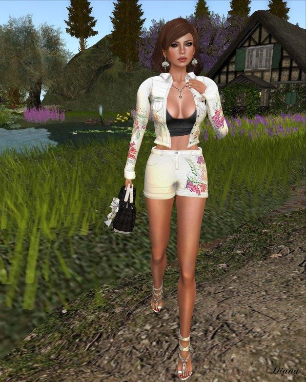 GizzA - Cotton Jacket and Cotton Shorts RhinestoneDenim White