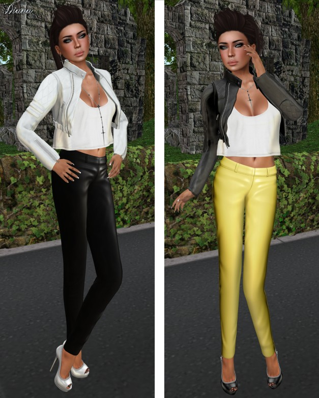 NYU - Napa Leather Pants black and yellow