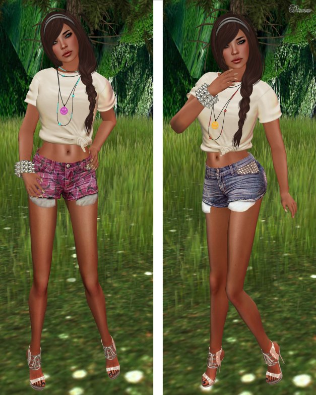 Teefy - Basic Knot T-Shirt Creme and Redgrave - Mesh Jeans-Hotpants with studs