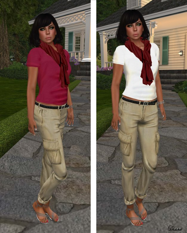 Coco - Scarf&Tee red and CargoPants khaki