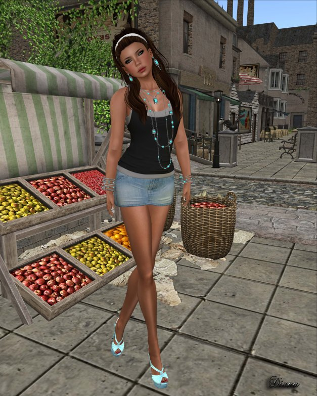 Cracked Mirror -  Layered Tank black white and Bouny Jean Skirt light blue