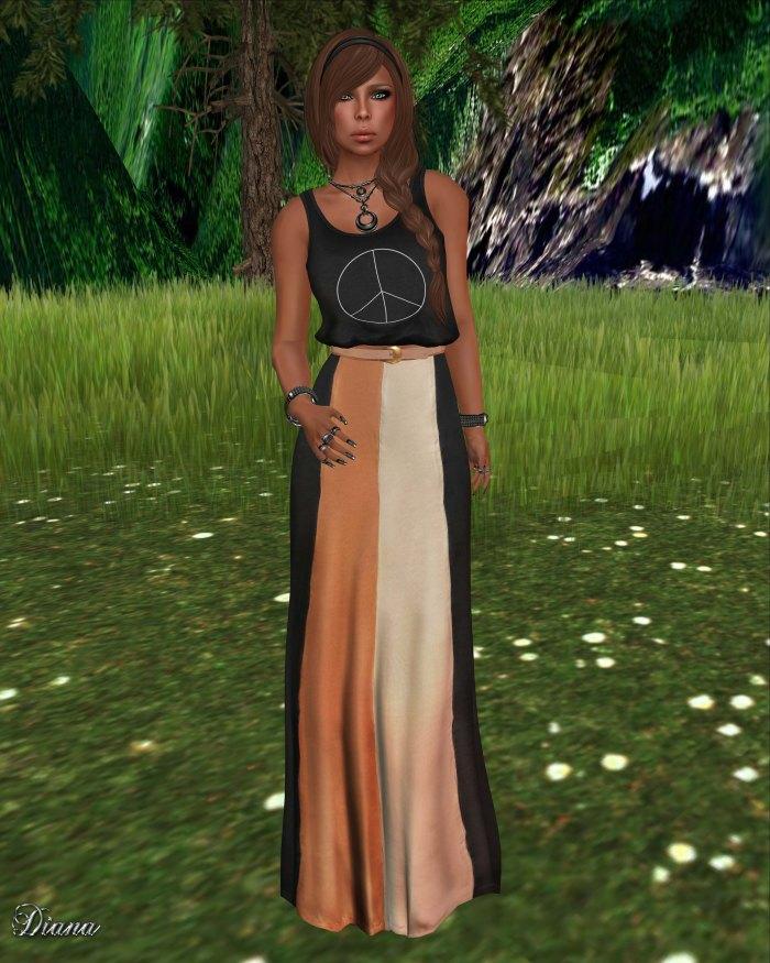 Emery - Top Peace Black and Mesh Maxi Skirt Mulholland Black