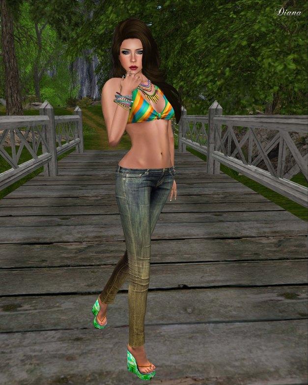 GizzA - BikiniBra Retro Green and Jeans Dirty