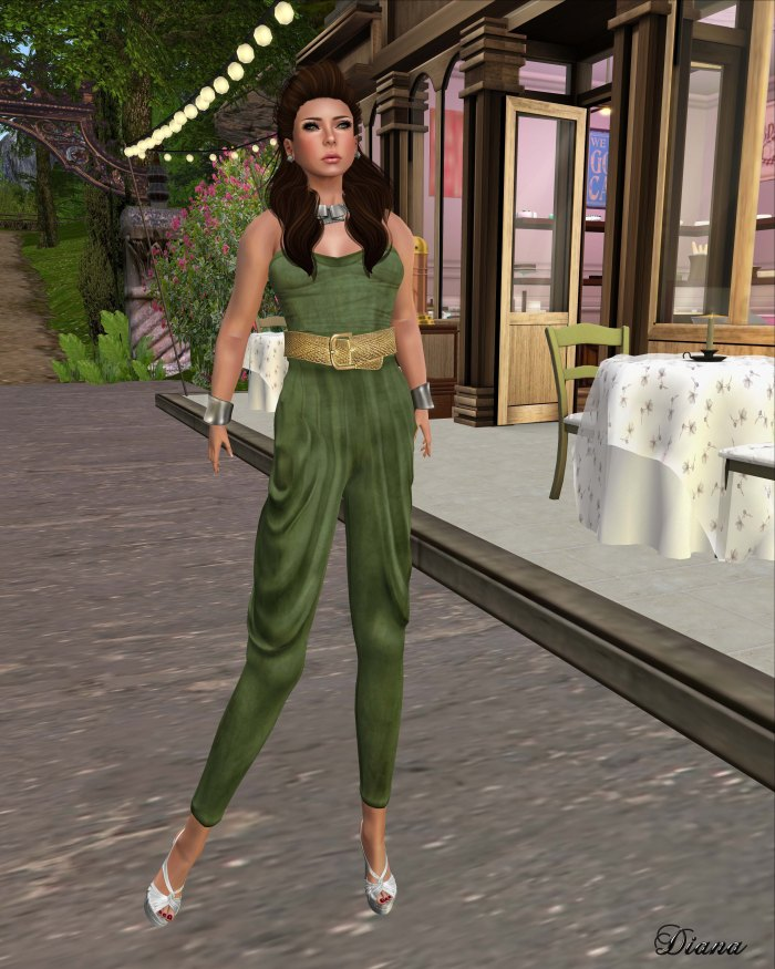 GizzA - Tube Jumpsuit suede green